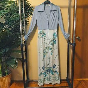 Vintage Alfred shaheen maxi dress 12 hippie